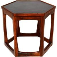 Hexagon Walnut Side Table, Midcentury at 1stdibs