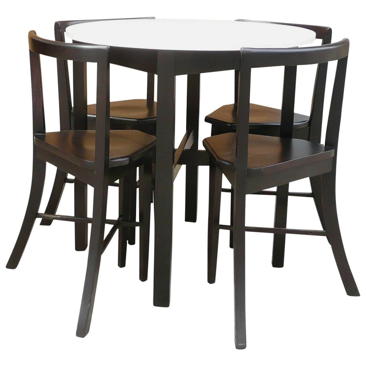 small round dining table and chairs theodore koch barber chair parts contoured set at 1stdibs