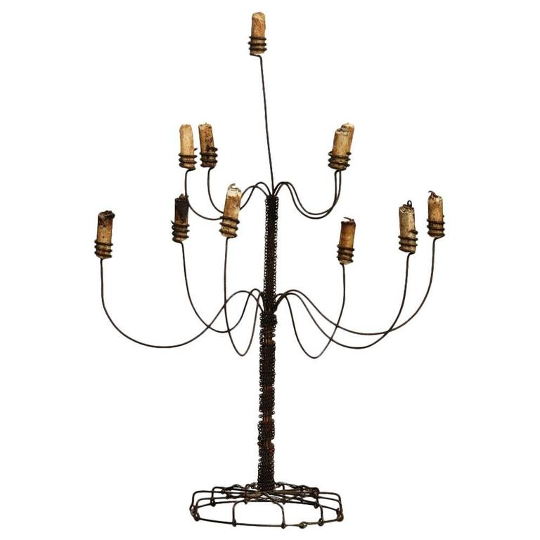 Whimsical 19th Century Two-Tier Wire Work Candelabra at