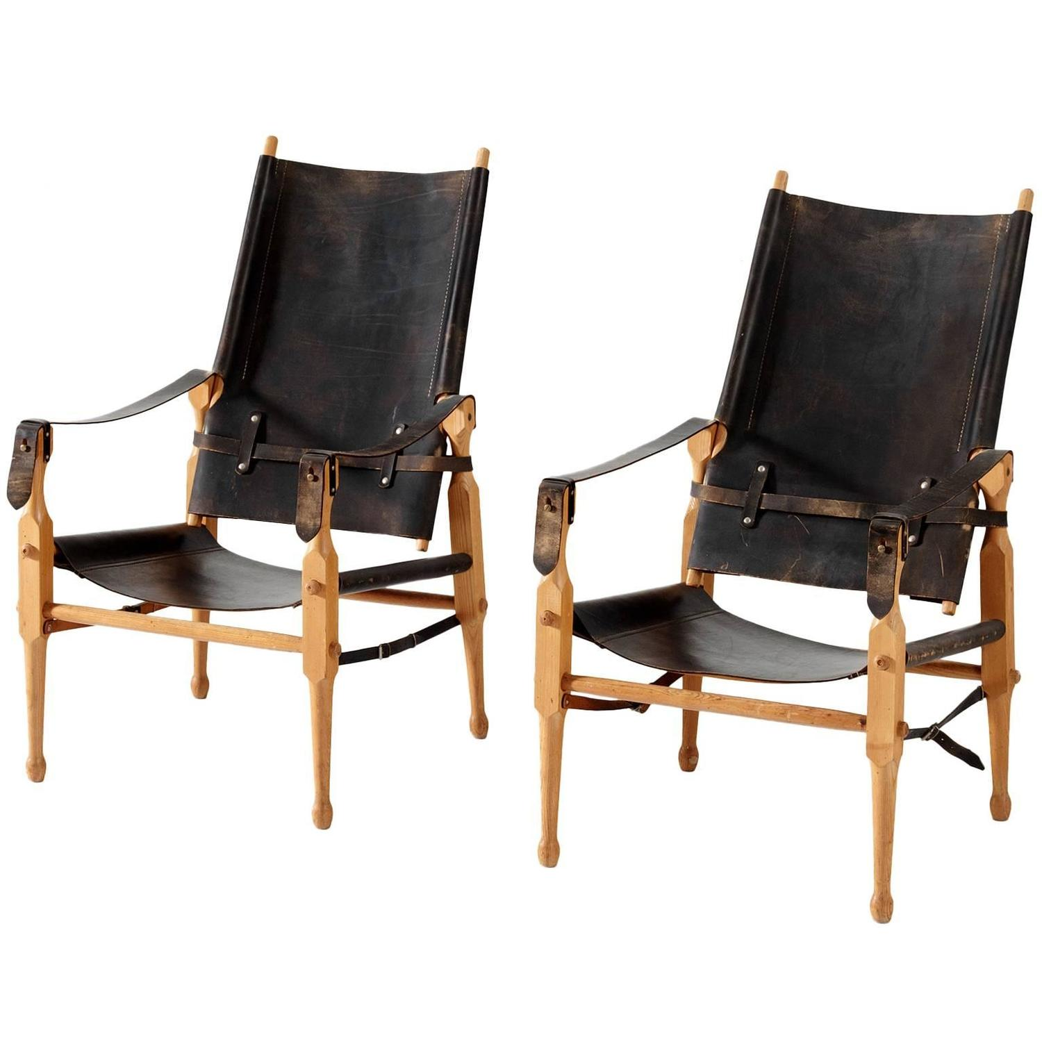 leather safari chair swing indoor with stand chairs in original black saddle denmark