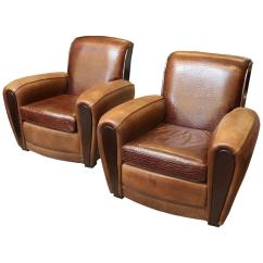 Art Deco Club Chairs Leather Patio Chair Covers Target A Pair Of French At 1stdibs