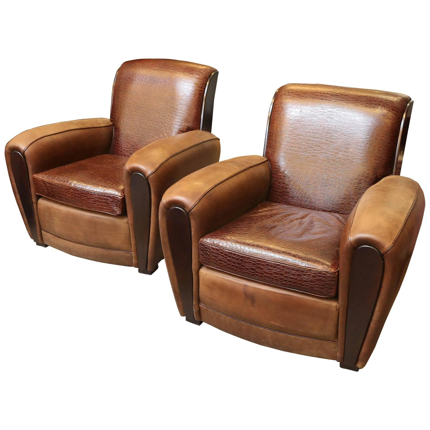 French Club Chair A Pair Of French Art Deco Leather Club Chairs At 1stdibs