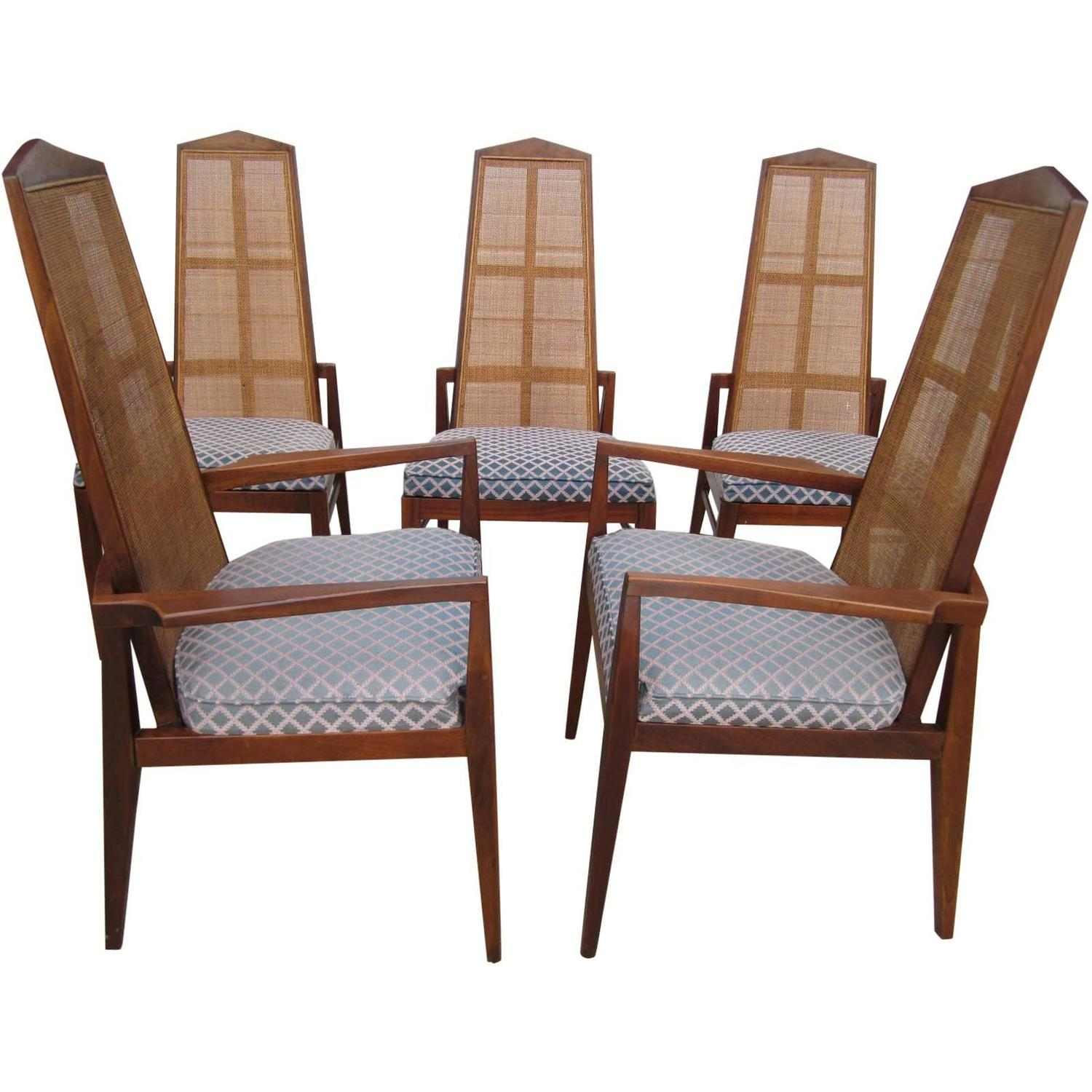 Cane Dining Chairs 5 Walnut Foster And Mcdavid Cane Back Dining Chairs Mid