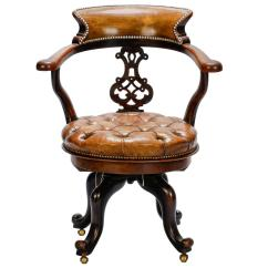 Tufted Desk Chair Horse Saddle French Mahogany And Leather Swivel At