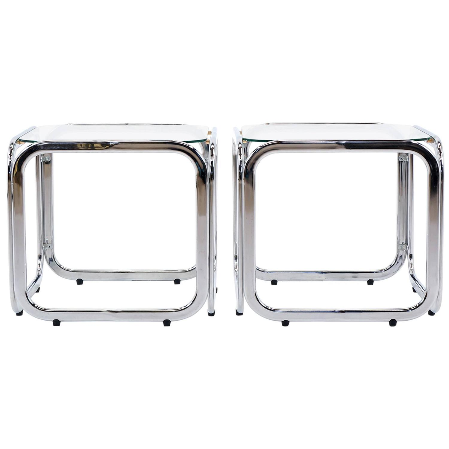 Excellent Pair of Chrome and Glass Side or Bedside Tables