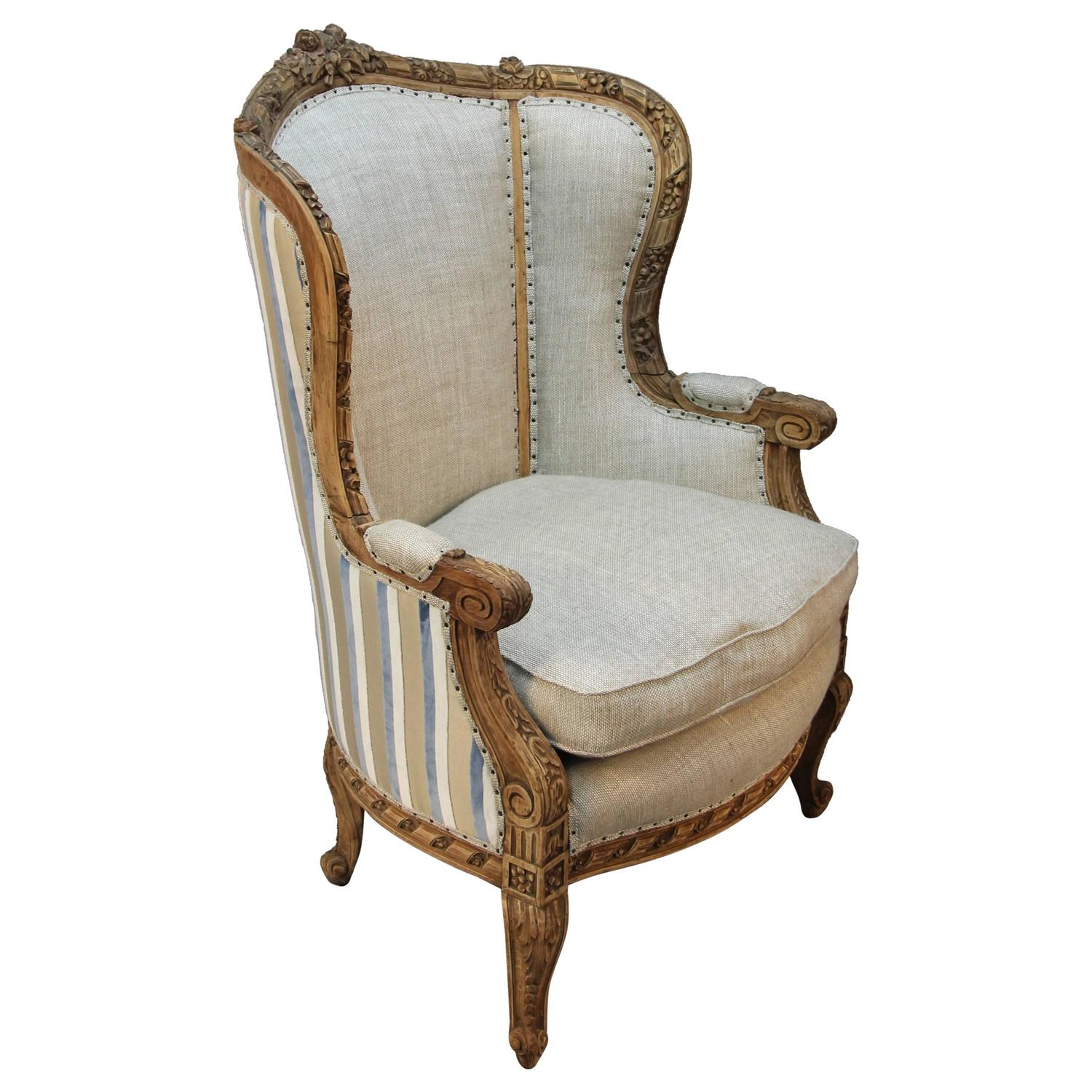 french louis chair folding with canopy xv style carved wingback bergere armchair