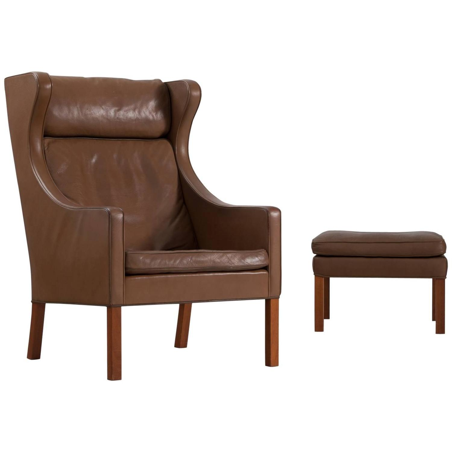 Brown Leather Wingback Chair Børge Mogensen Brown Leather Wingback Chair Denmark