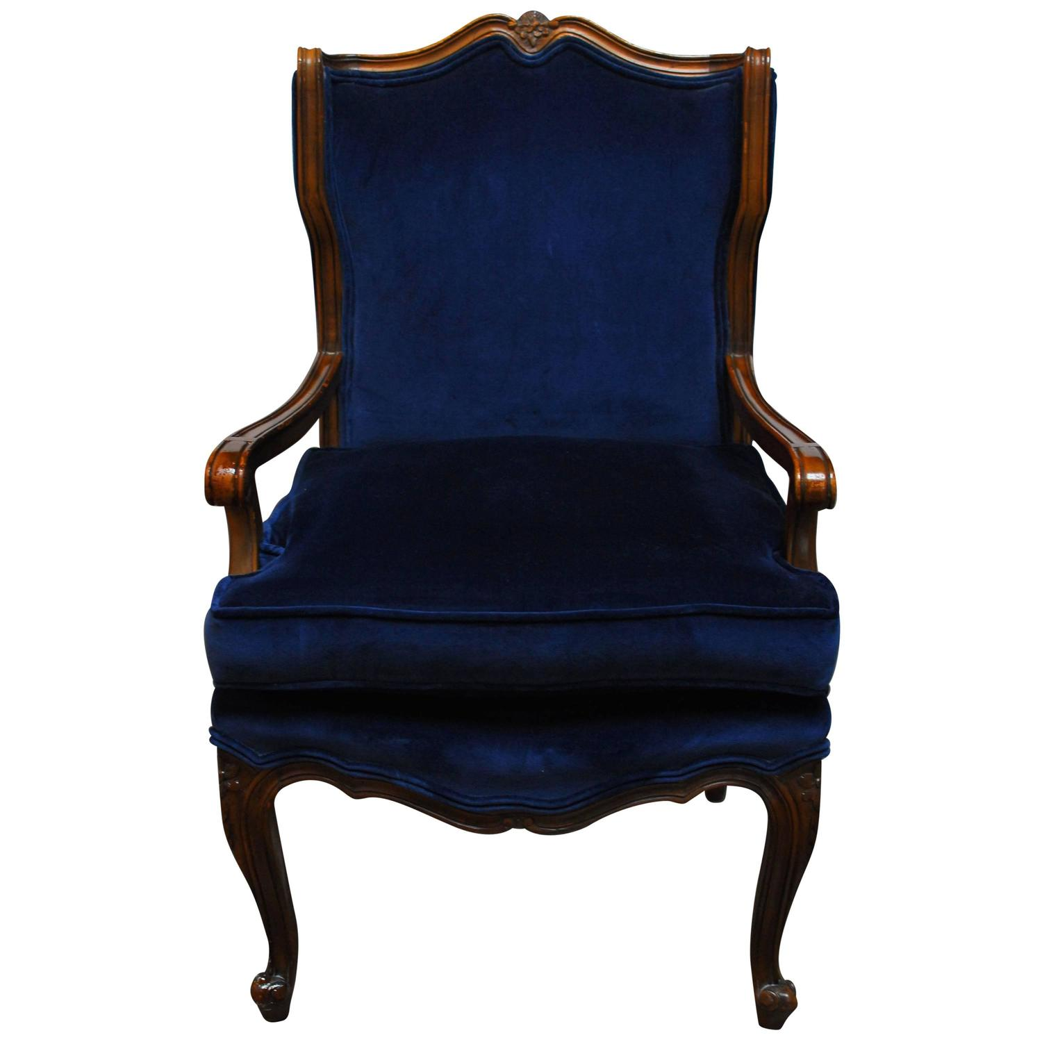 french louis chair cream lounge xv style velvet wing for sale at 1stdibs