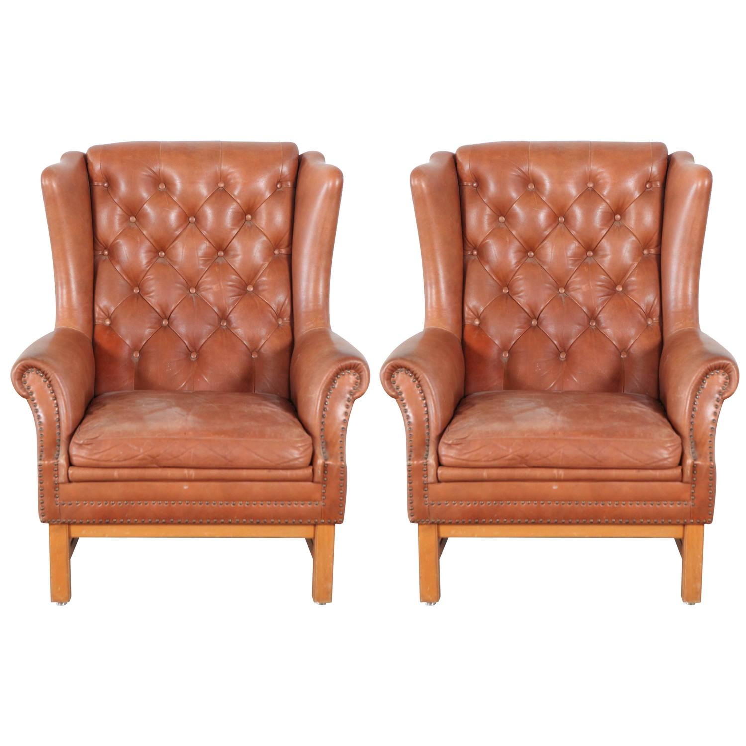 tufted nailhead chair nursery swivel glider recliner chippendale style leather wing back chairs with