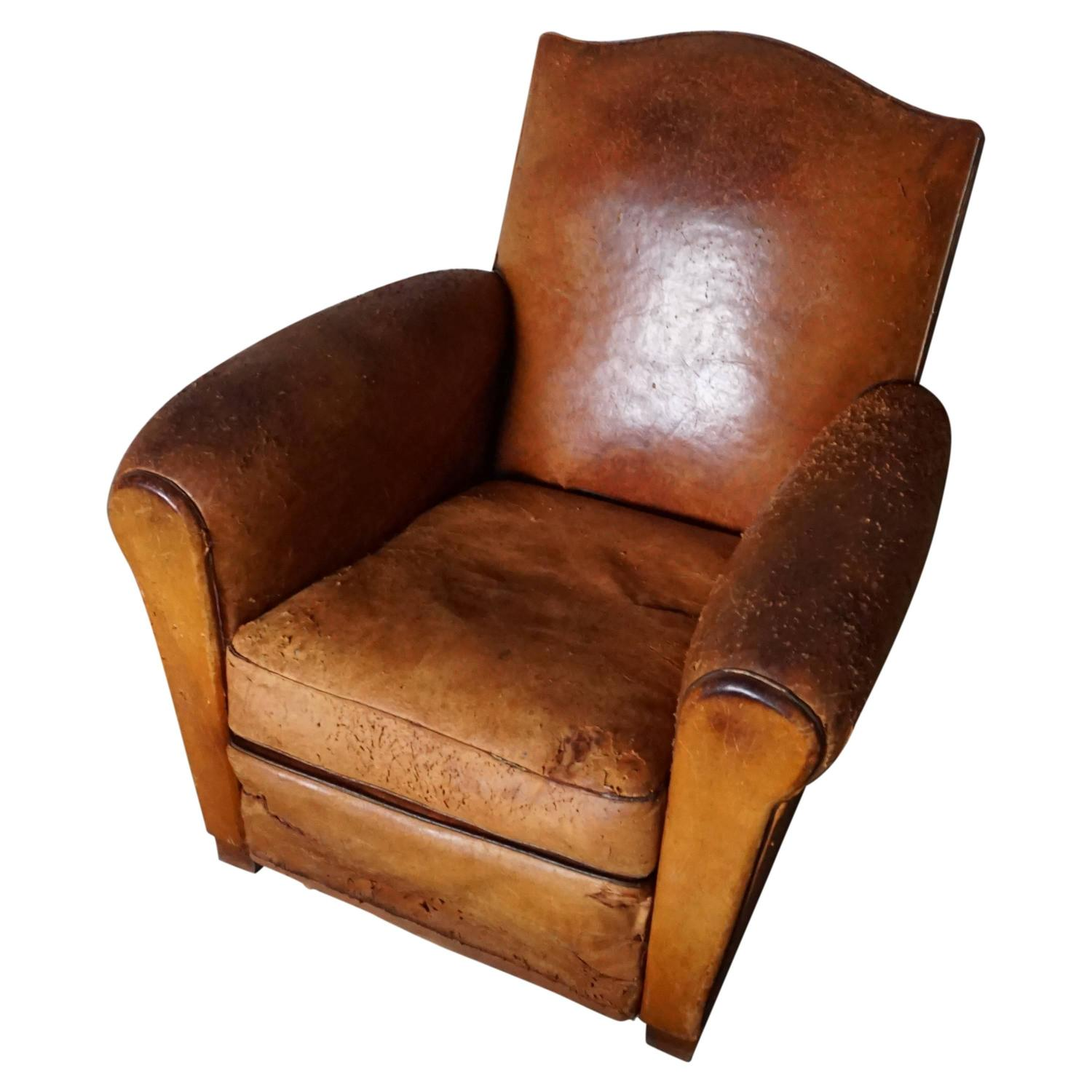 distressed leather desk chair rustic bistro table and chairs vintage cognac french club 1930s