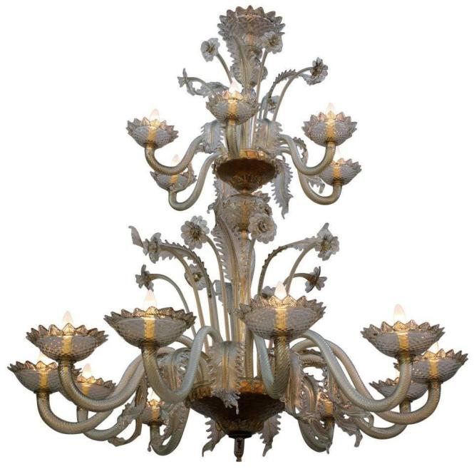 Imposing Antique 1920s Two Tier Murano Chandelier For