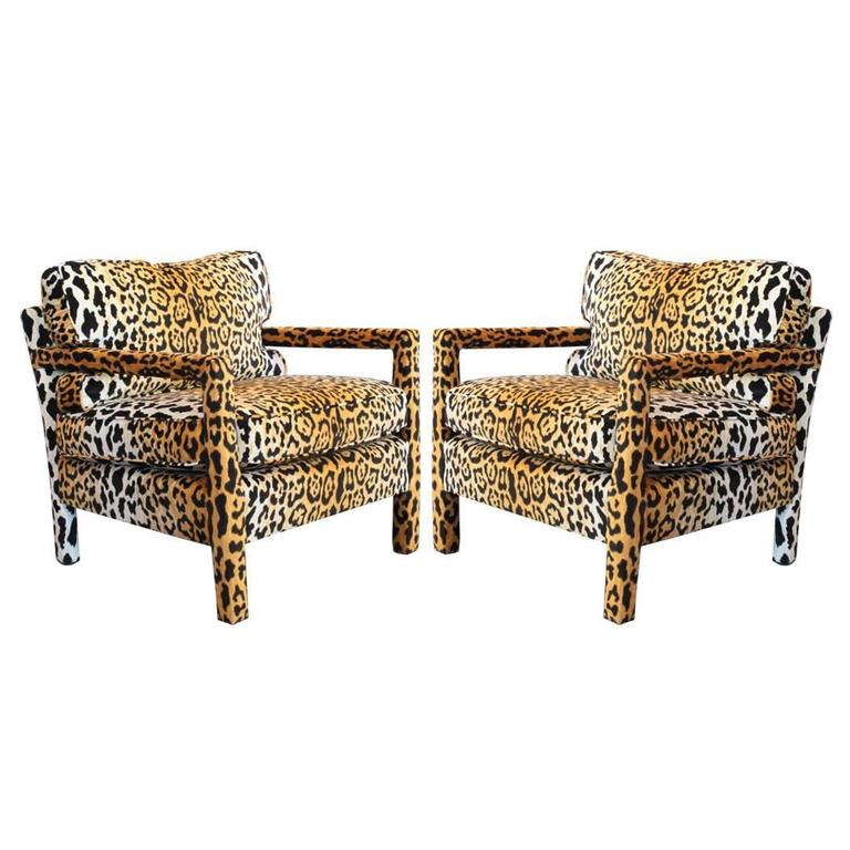 parsons chairs french louis for sale pair of leopard parson in the style milo baughman custom
