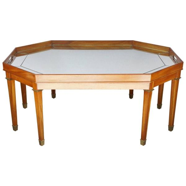 Vintage Blonde Mahogany And Mirror Topped Coffee Table