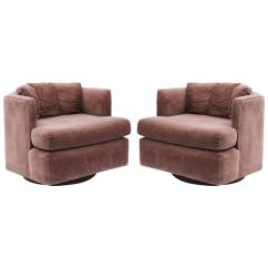 Swivel Tub Chairs Timber Ridge Zero Gravity Chair With Side Table Pair Of Mid Century Modern Baughman Faceted