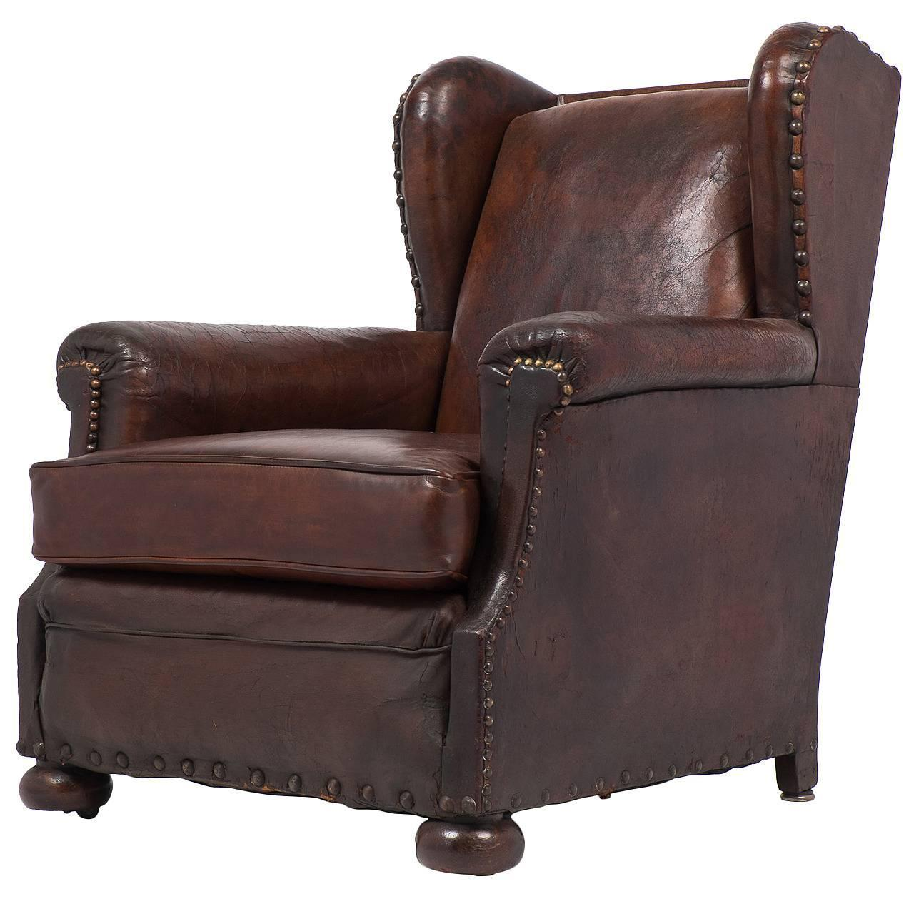 Leather Club Chair French Vintage Wingback Leather Club Chair At 1stdibs