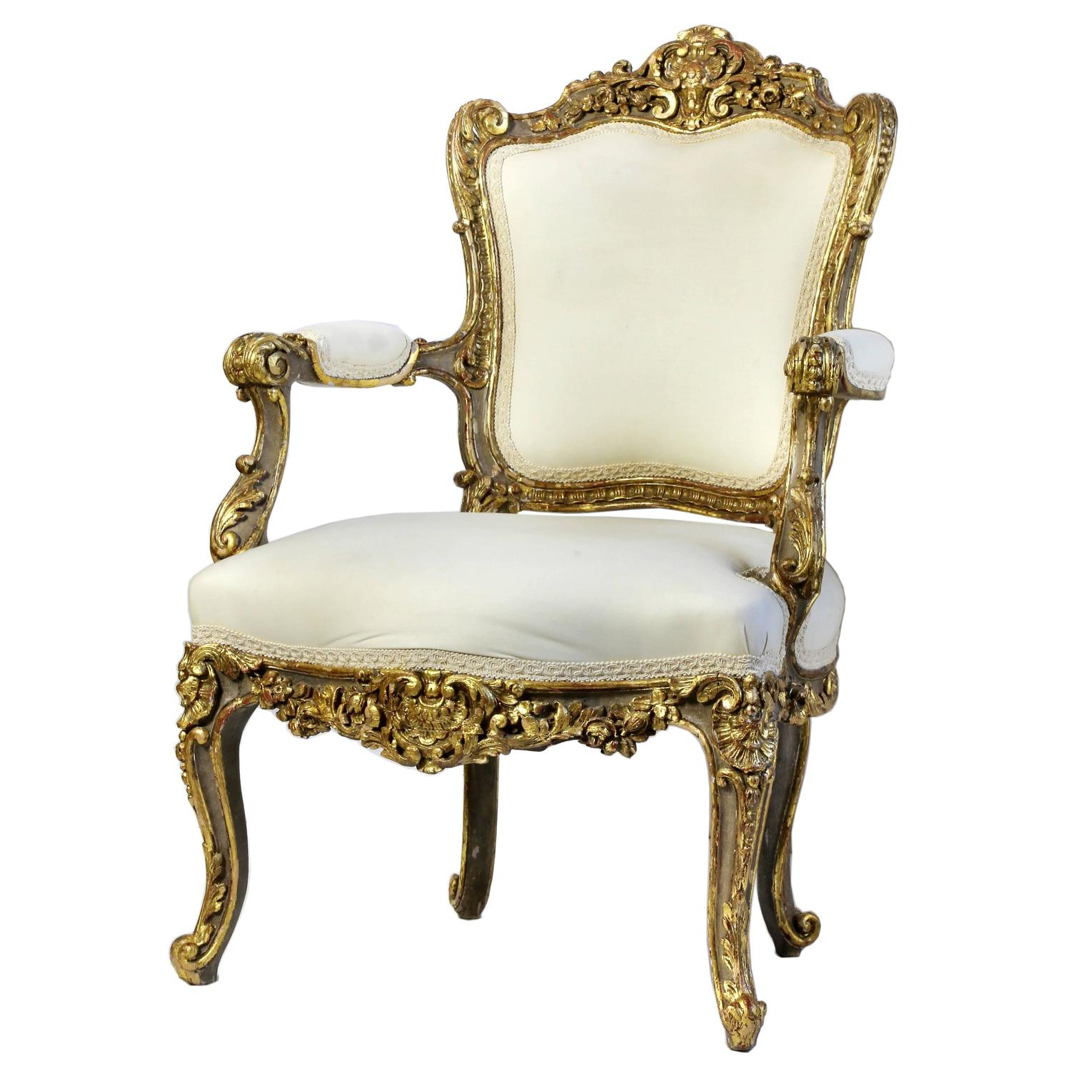 french louis chair espresso dining chairs italian heavily carved and gilded rococo open armchair for sale at 1stdibs