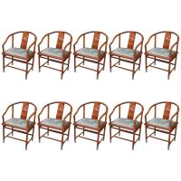 Set of Ten Mahogany Chinese Style TSU Dining Chairs For ...