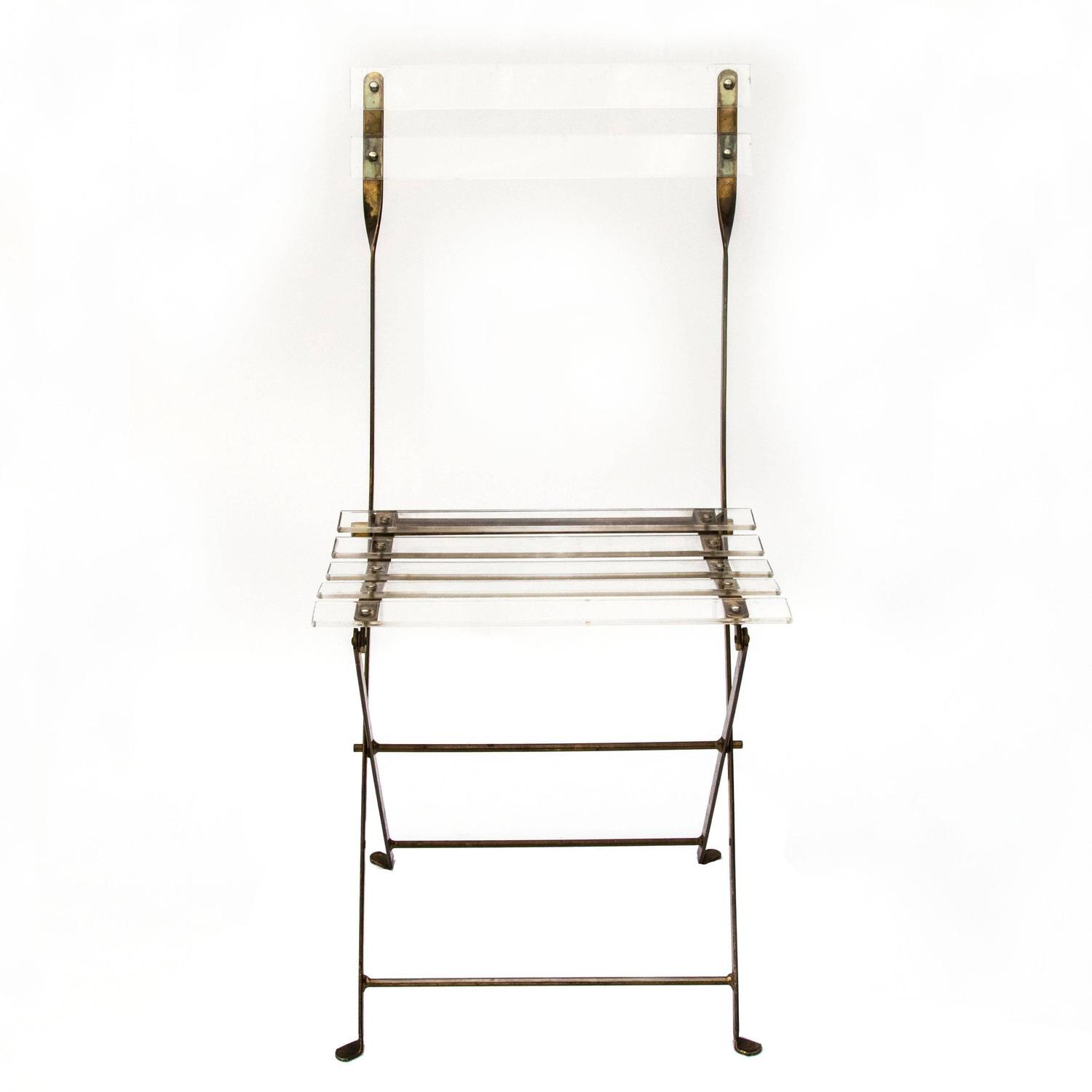 Lucite Folding Chairs Lucite And Brass Folding Chairs At 1stdibs