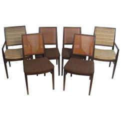 Dining Chairs With Caning Babies R Us Glider Chair Australia Six John Stuart Modern Walnut And Caned For Sale At 1stdibs
