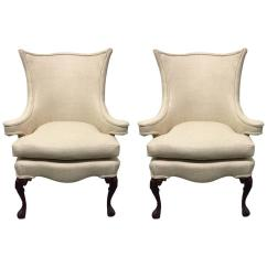 Queen Anne Style Chairs Bows For Wedding Pair Of Wingback Sale At 1stdibs