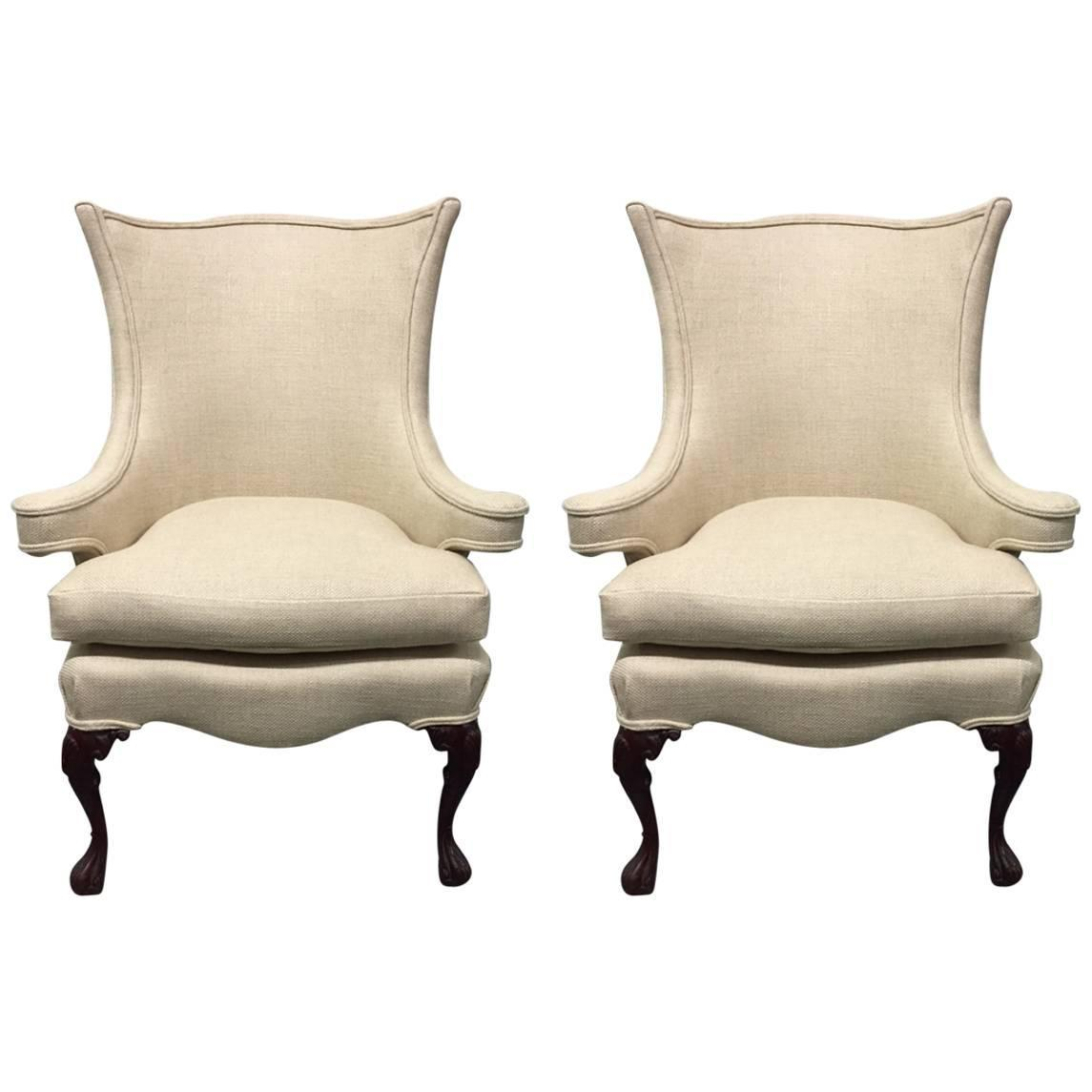 Queen Anne Wingback Chair Pair Of Queen Anne Style Wingback Chairs For Sale At 1stdibs