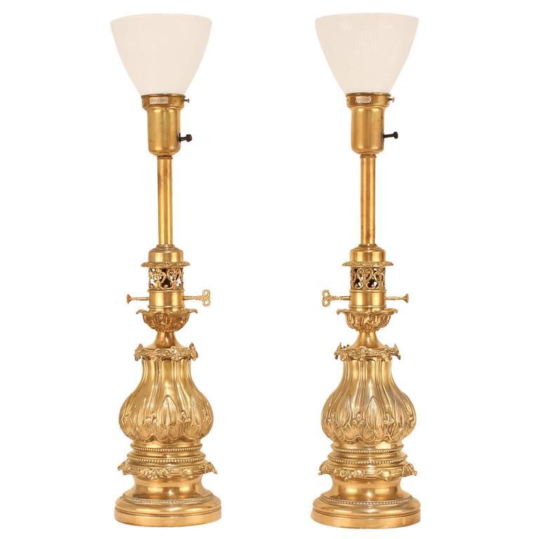 Extraordinary 1940s Pair of Stiffel Brass Lamps at 1stdibs