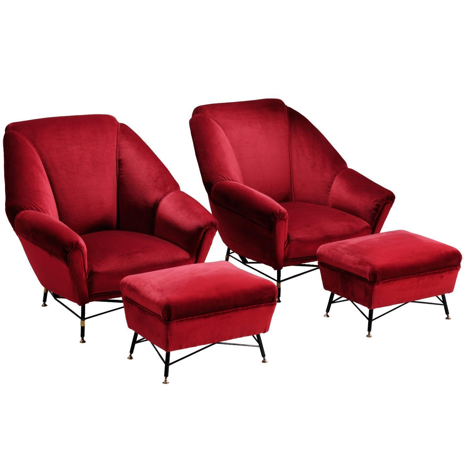 red lounge chair wicker outdoor rocking italien velvet with accompanying ottoman
