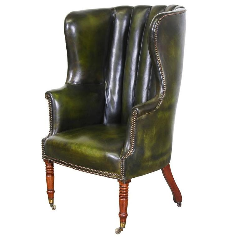 tufted leather wingback chair french bergere and ottoman vintage green high back wing at 1stdibs