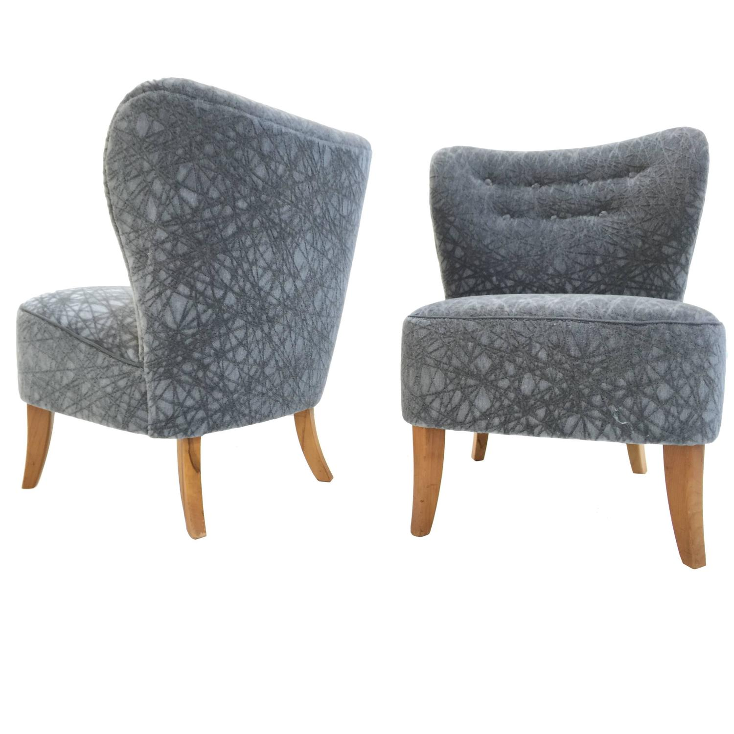 grey velvet slipper chair painted kitchen chairs ideas pair of 1950s tijsseling in geometric