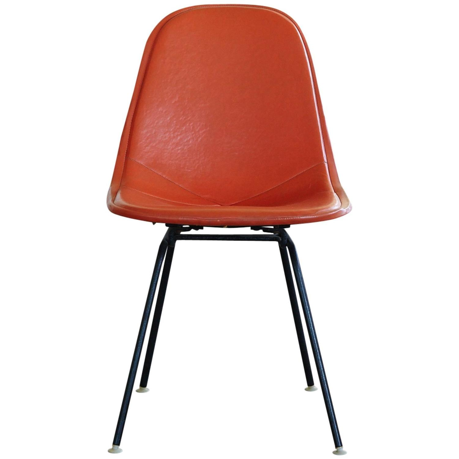 orange side chair chairs hanging from ceiling original eames dkx 1 in leather for herman miller 1960s sale at 1stdibs