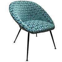 Mid-Century Curved Back Lounge Chair in Green Patterned ...