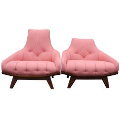 Modern Art Chair Covers And Linens Swivel Parts Uk Pair Of Mid Century Pink Linen Walnut Gondola