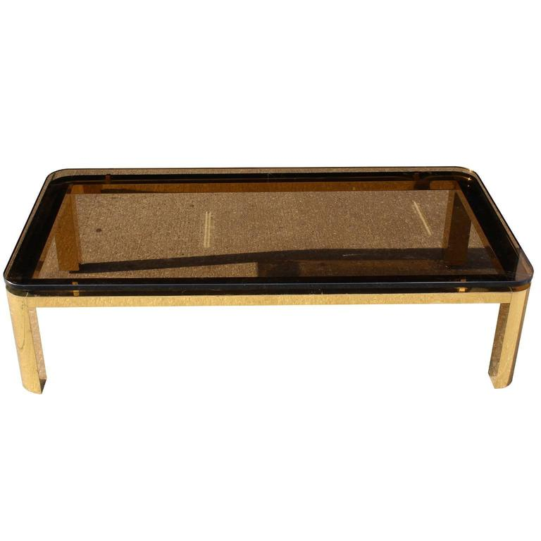 Pace Collection Floating Smoked Glass Top Coffee Table In