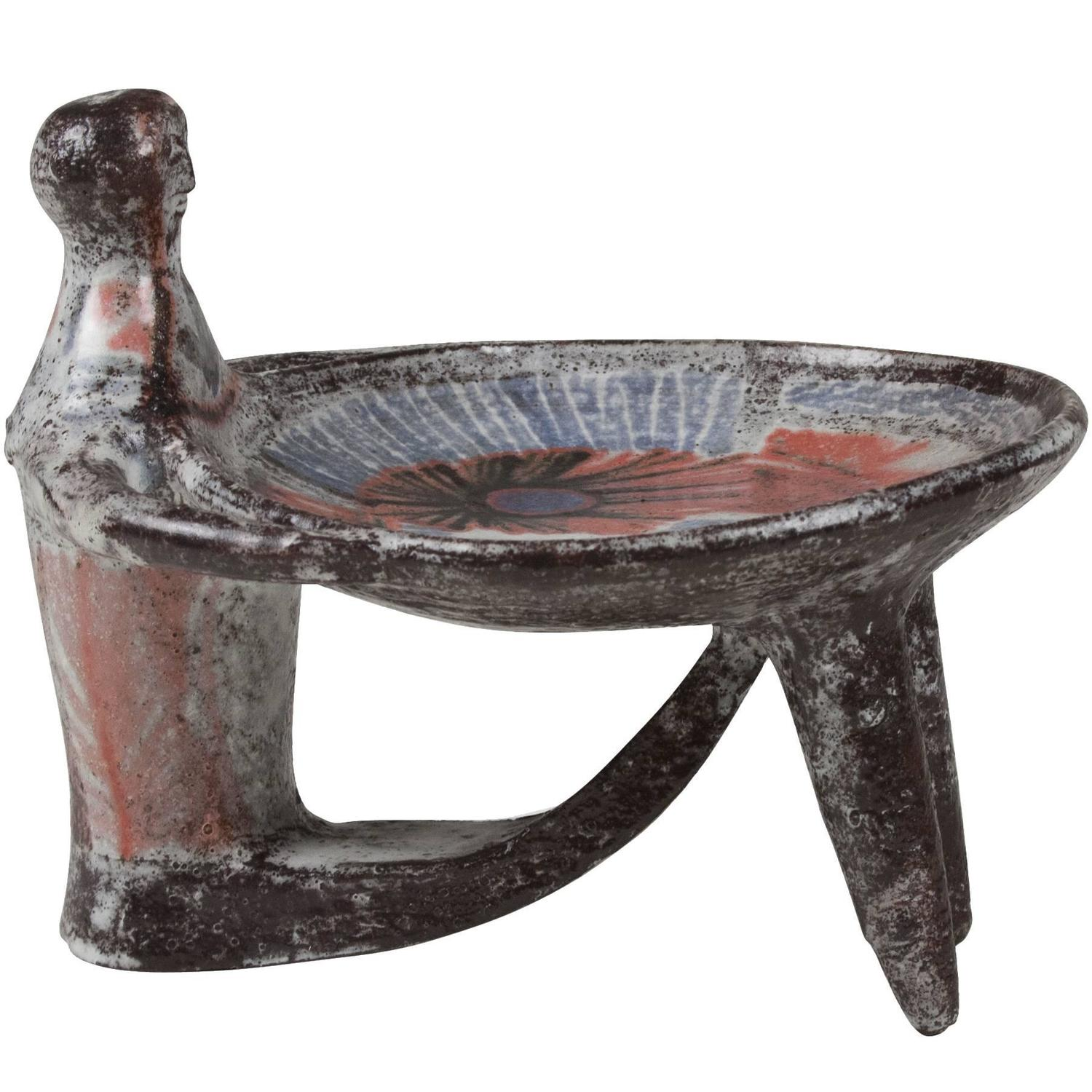 Dish Chair Figural Ceramic Dish By Jean Derval For Sale At 1stdibs