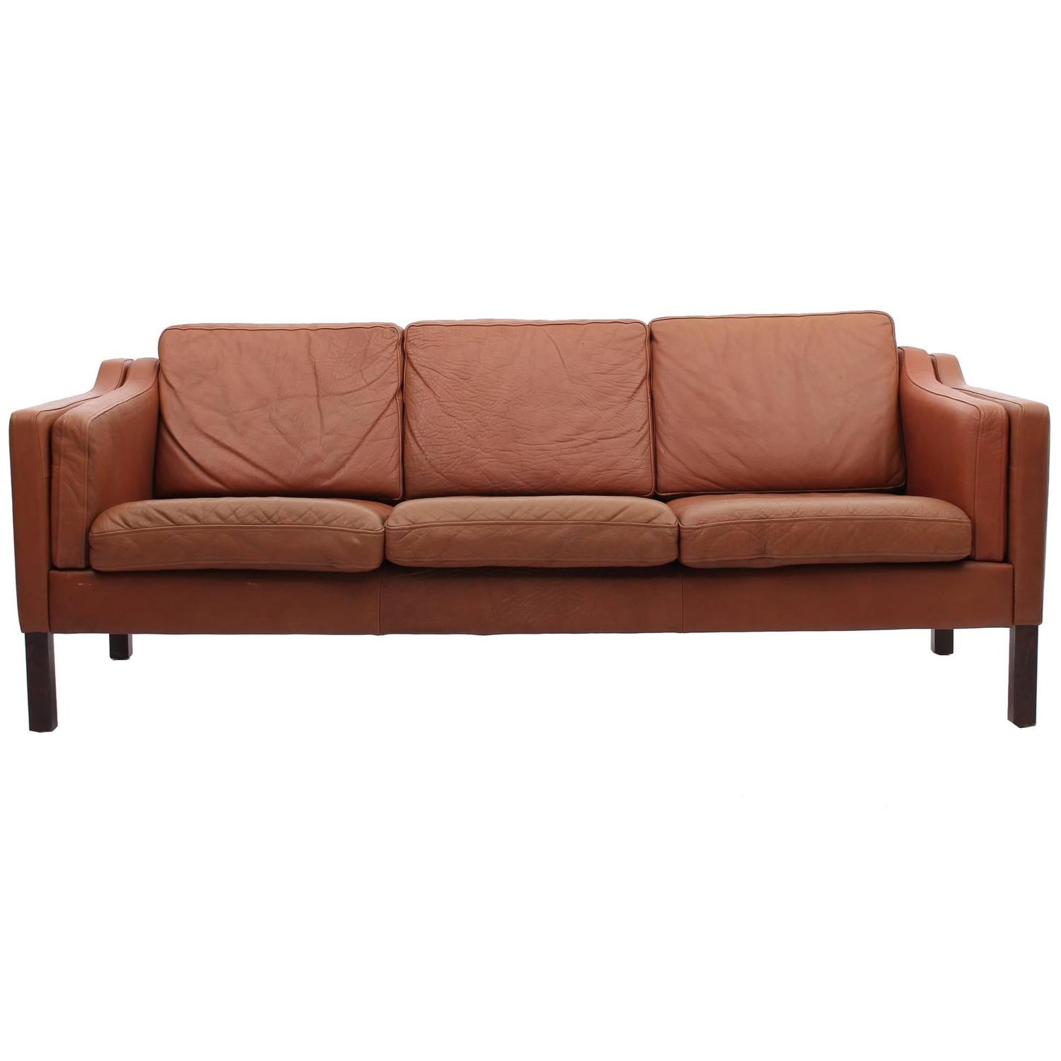chestnut colored leather sofa palliser miami review brown danish mid century modern