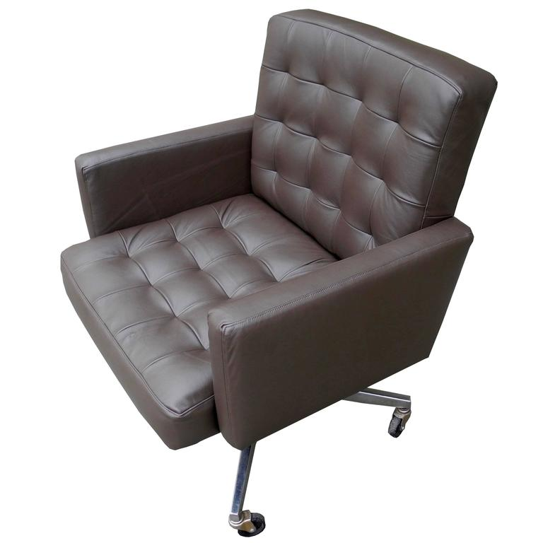 Taupe Leather Executive DeskOffice Armchair on Wheels by