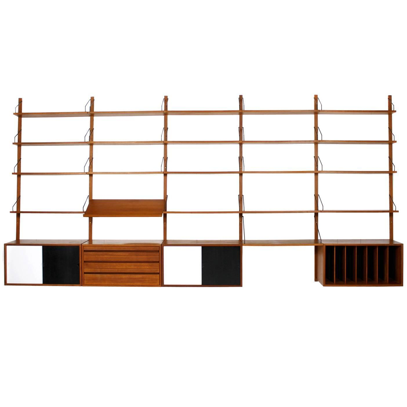 Large 1960s Poul Cadovius Royal Teak Shelf System Danish