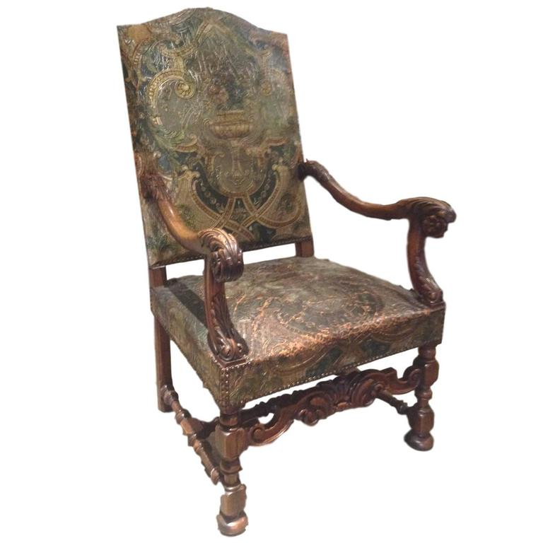 kings chair for sale baby high cover replacement 19th century french embossed leather throne at 1stdibs