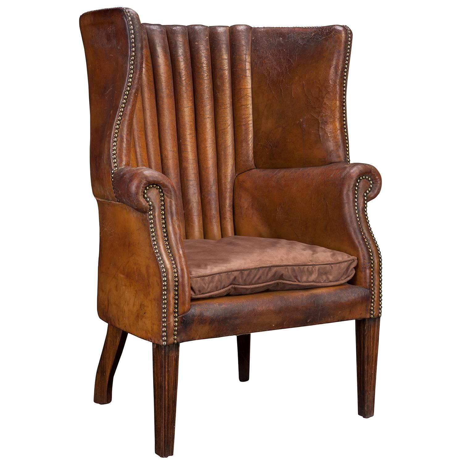 barrel back chair wobble australia leather wing for sale at 1stdibs
