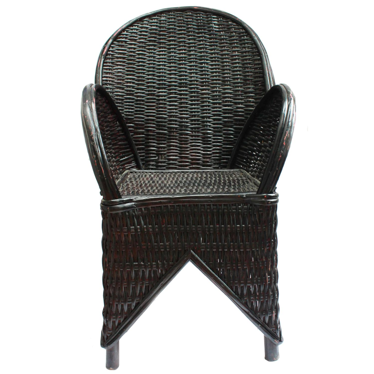 Black Chairs For Sale Black Wicker Chair Handmade In Morocco For Sale At 1stdibs
