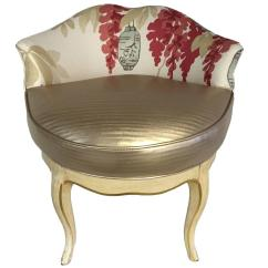 Swivel Vanity Chair Cheap Rail Beadboard Paneling Vintage French Style Chinoiserie Stool