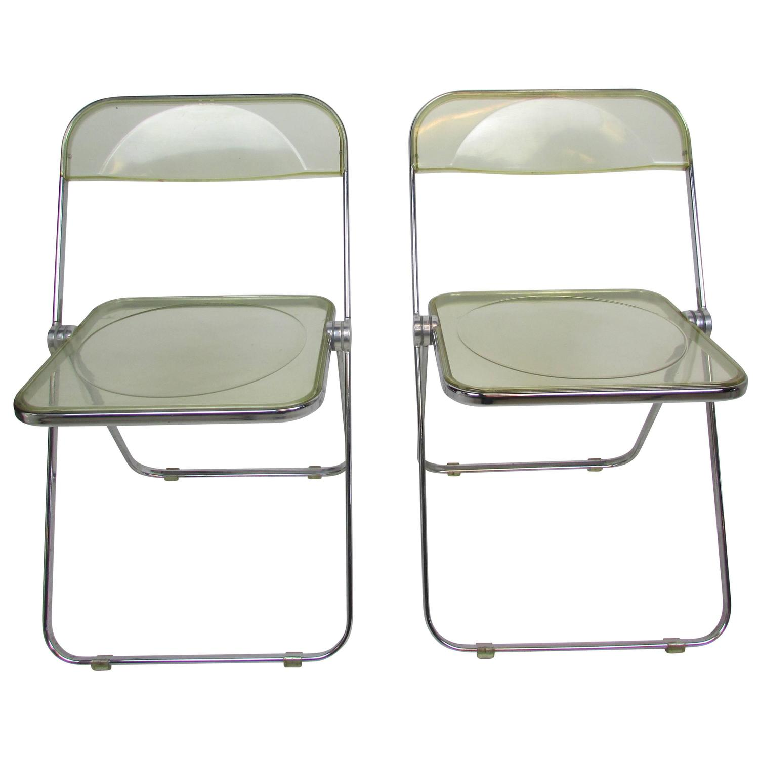 Acrylic Folding Chairs Mid Century Lucite Acrylic Plia Folding Chair At 1stdibs