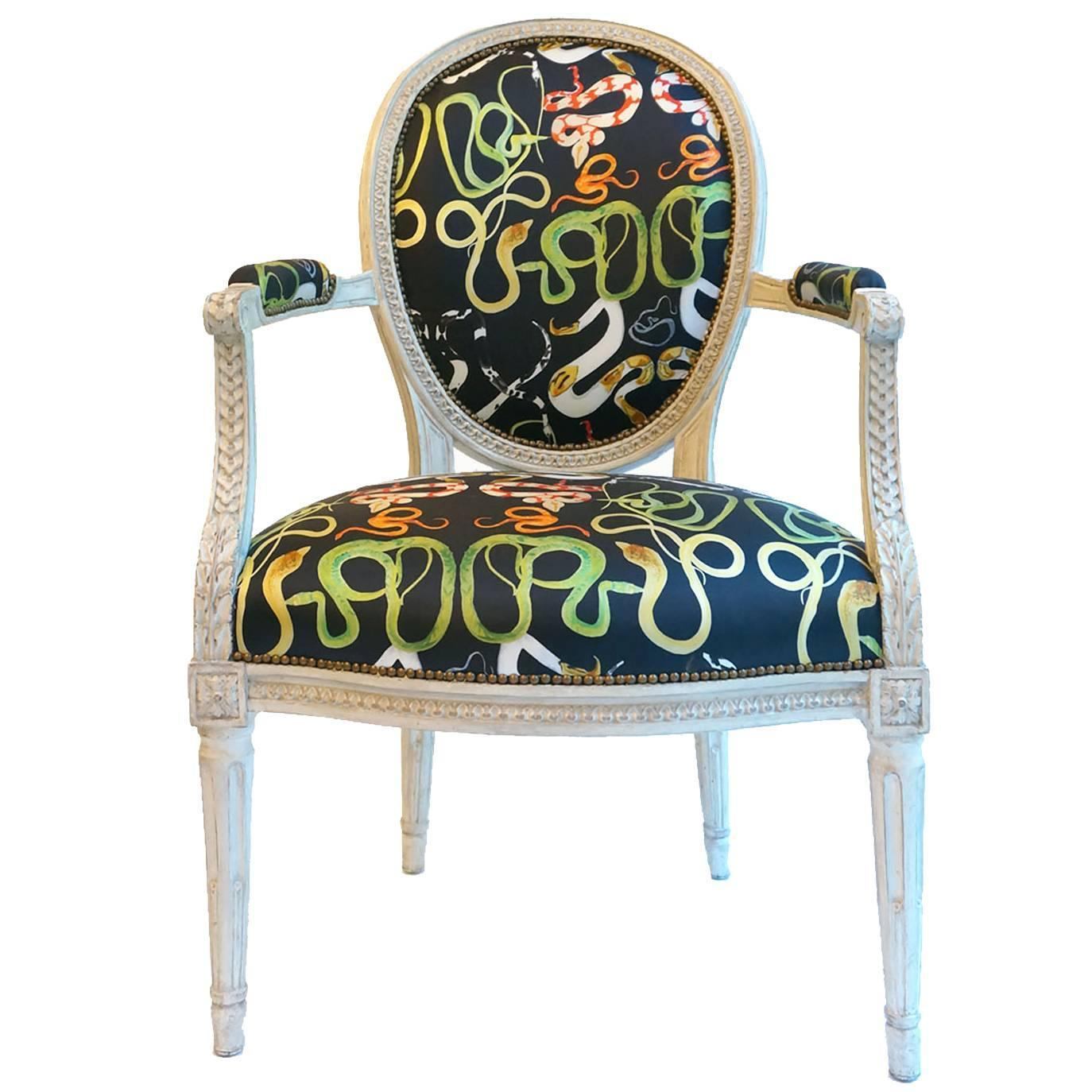 Balloon Chair For Sale French Balloon Back Chair X Voutsa Snakes On Black For