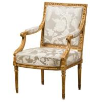 Armchair, Louis XVI Style, Reupholstered with Fabric from ...