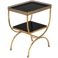 Vintage Brass Curule Side Table with Black Glass Shelves ...