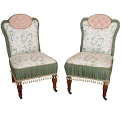 Upholstered Slipper Chair The Store Pair Of Antique Custom Chairs At 1stdibs For Sale