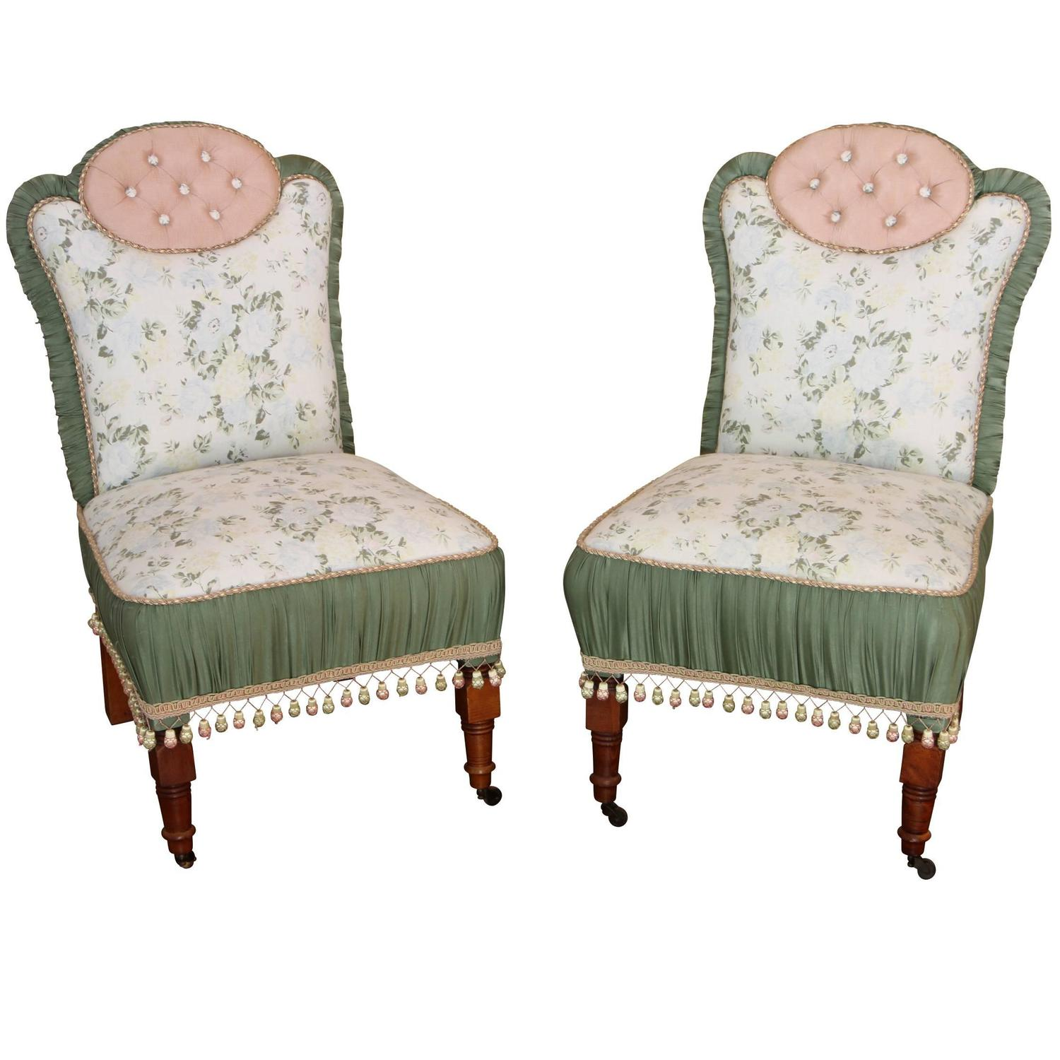 upholstered slipper chair bedroom rail height pair of antique custom chairs for sale