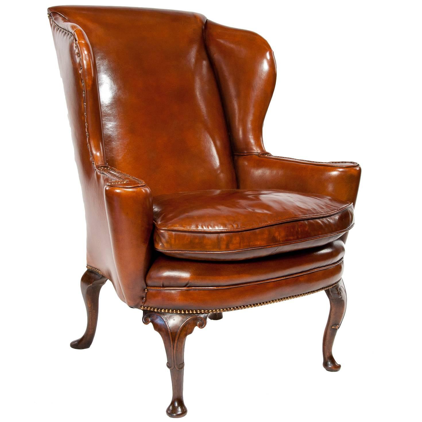 Leather Wing Back Chair Superb Quality 19th Century Antique Leather Wing Chair At
