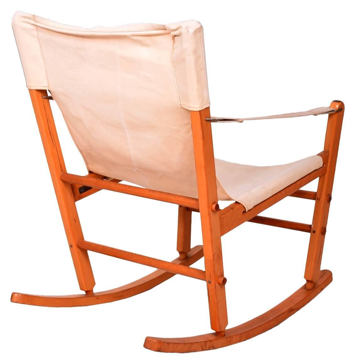 modern metal chairs steel chair of hs code mid century safari rocker solid maple canvas
