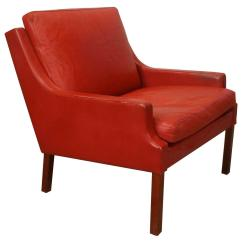 Red Club Chair Old Ikea Covers Vintage Danish Leather By Mogens Hansen At